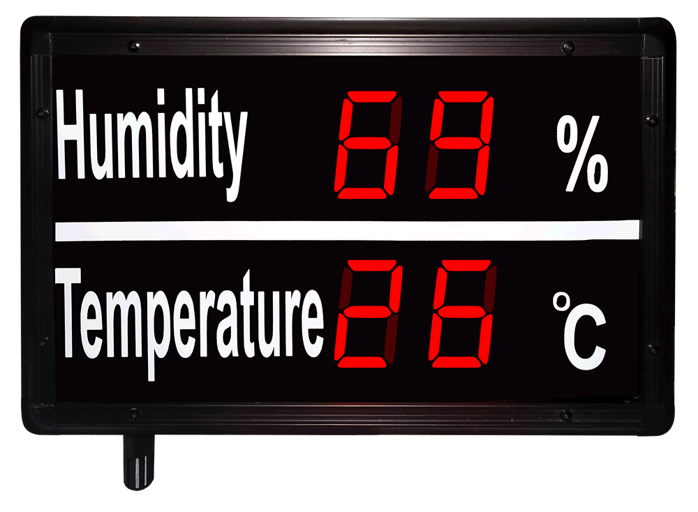 Large Humidity and Temperature Display with Sensor in built